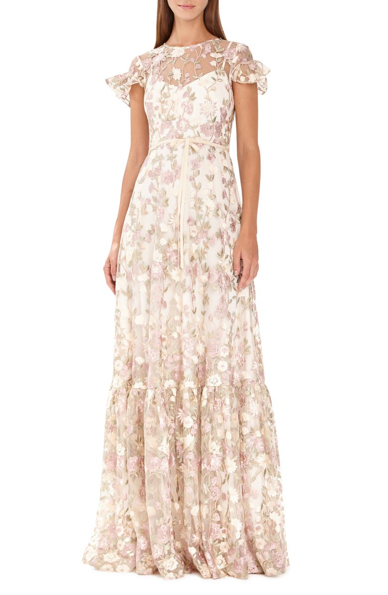 ML MONIQUE LHUILLIER Floral Embroidered Mesh Evening Dress, Main, color, PINK/ GOLD