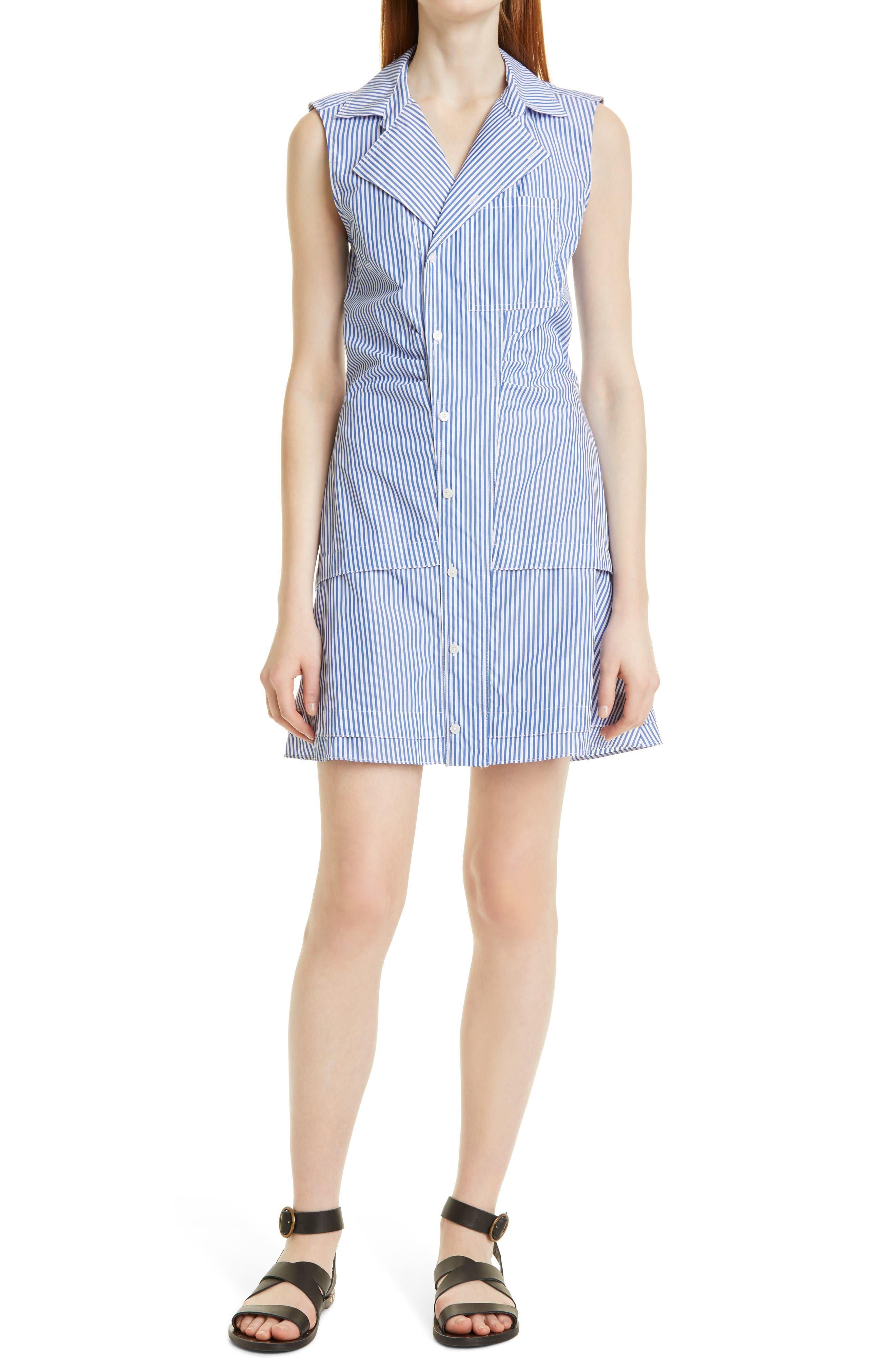 Satina Stripe Sleeveless Cotton Blend Shirtdress