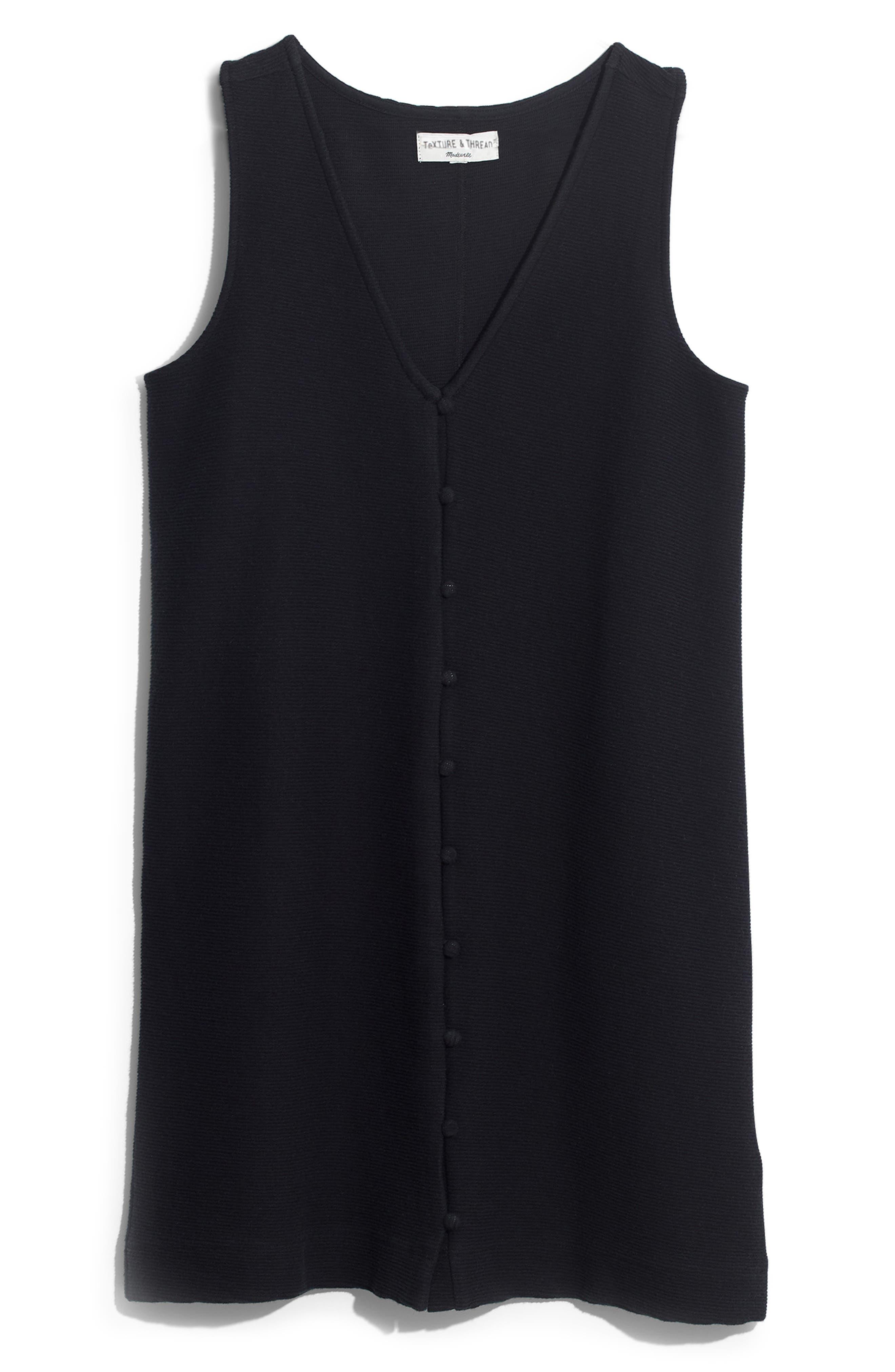 Madewell Texture & Thread Button Front Tank Dress, Black