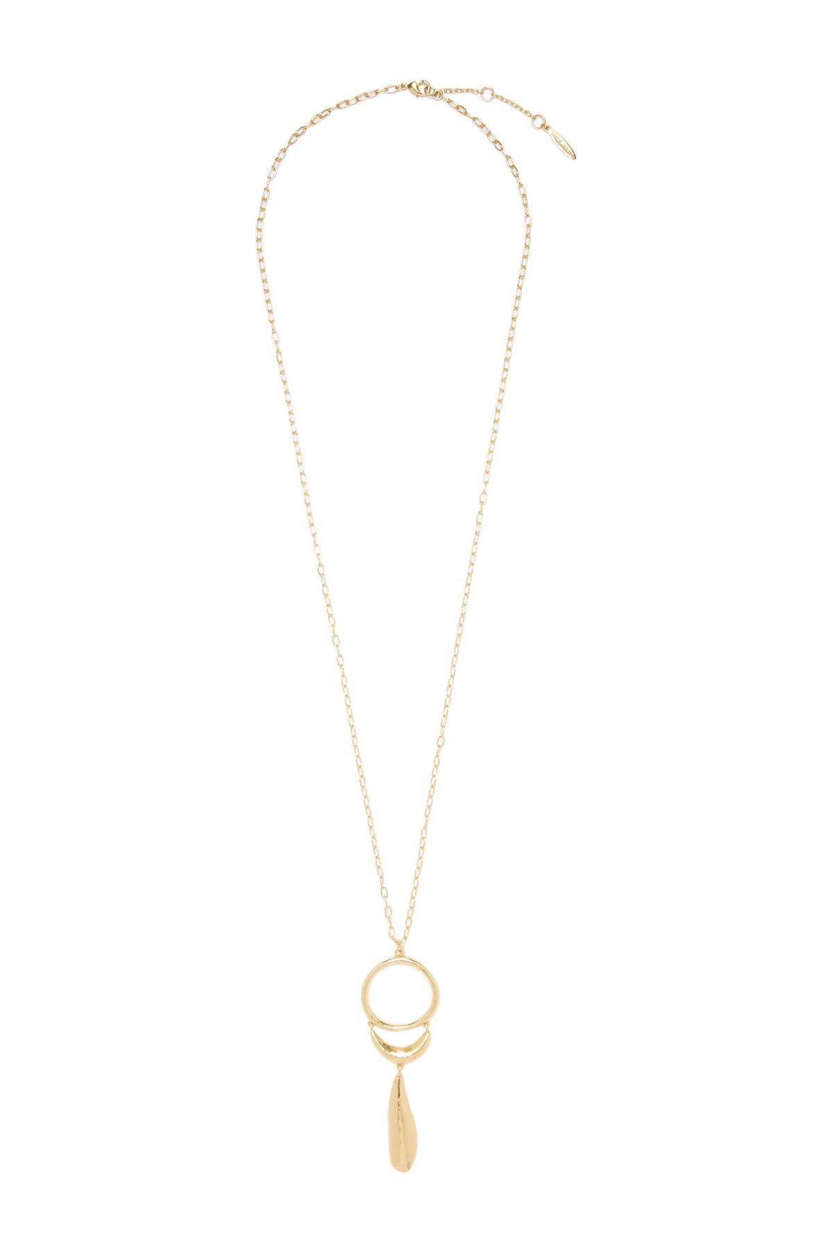 """Image of Sole Society 12K Yellow Gold Plated Hammered Textured 30"""" Open Ring Pendant Necklace"""