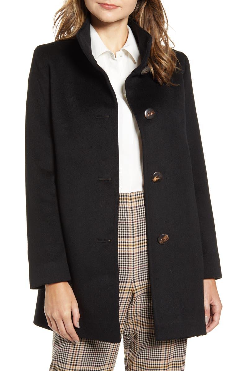 FLEURETTE Cashmere Car Coat, Main, color, BLACK
