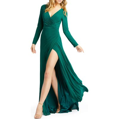 Ieena For MAC Duggal Long Sleeve Front Slit Jersey Gown, Green