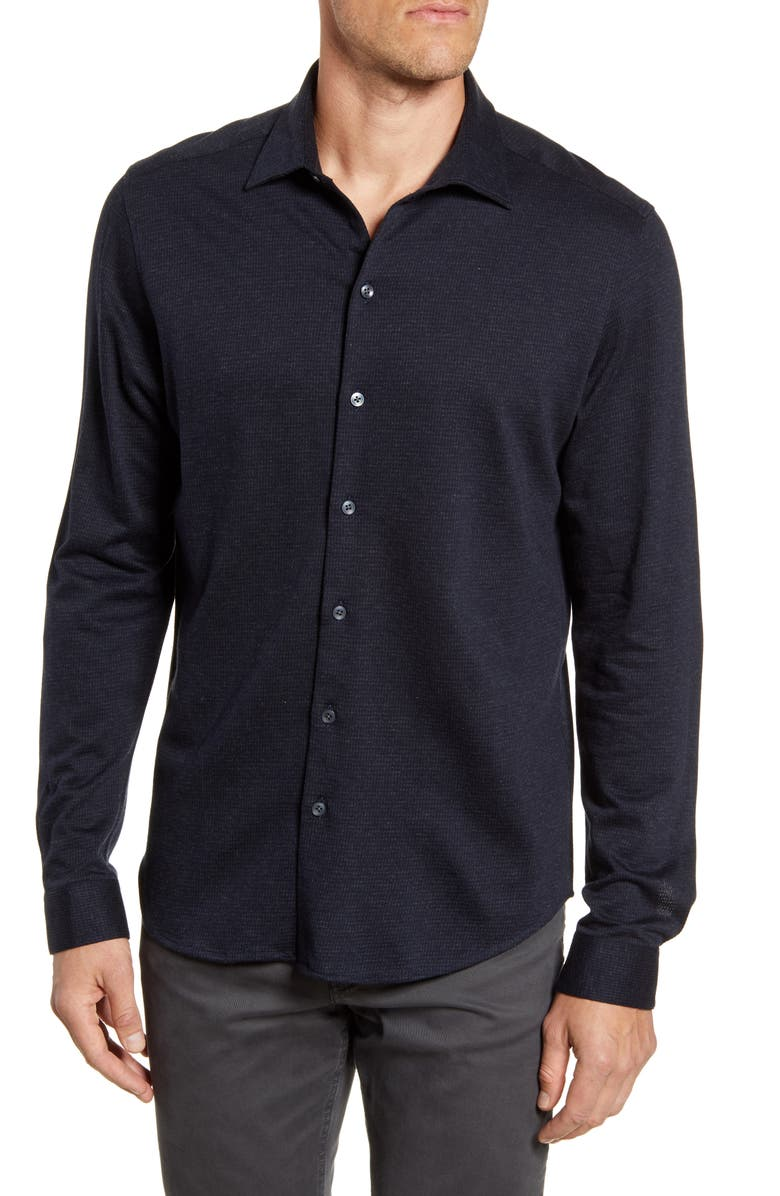 ROBERT BARAKETT Colborne Regular Fit Button-Up Knit Shirt, Main, color, 001