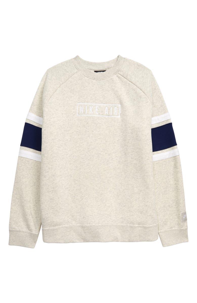 NIKE Air Long Sleeve Crewneck Sweatshirt, Main, color, OATMEAL HEATHER/ BLUE VOID