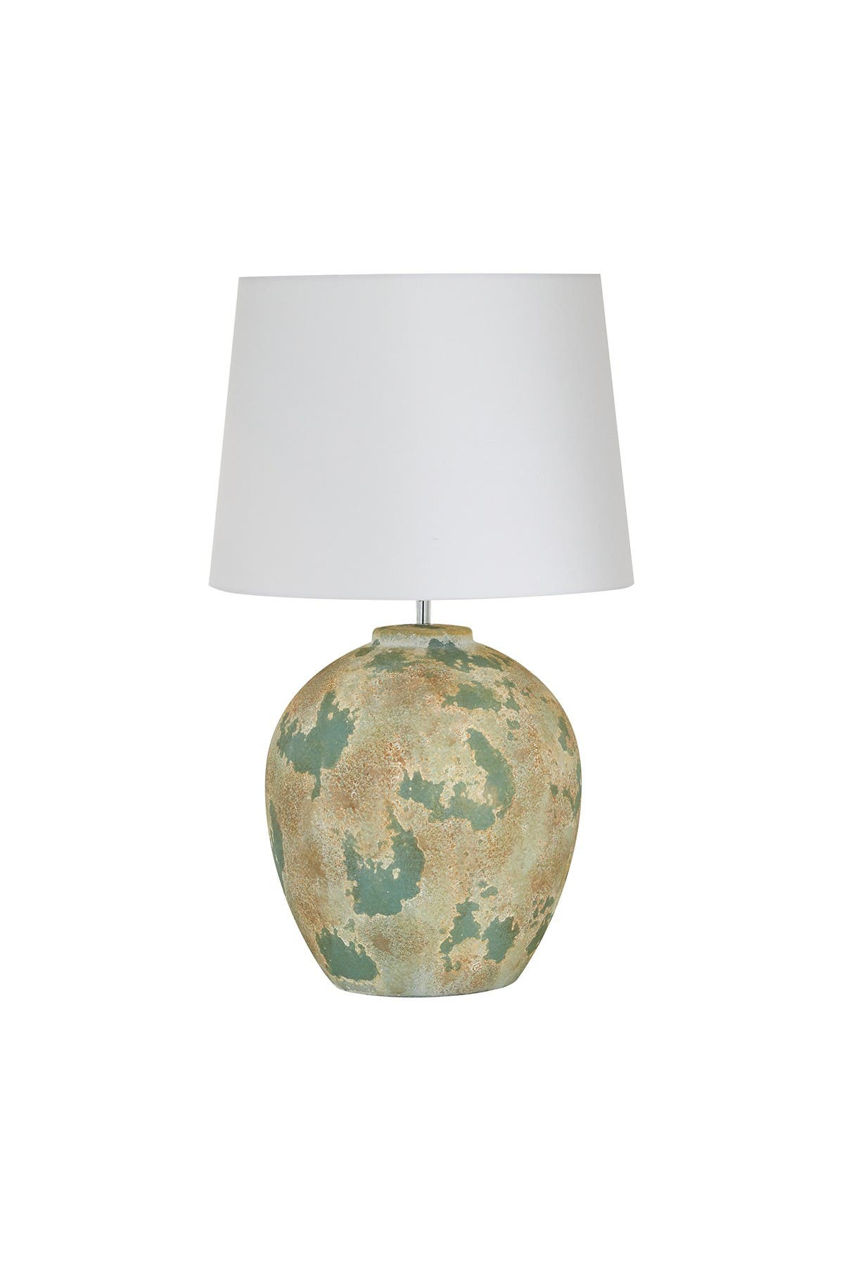 Willow Row Large Round Beige And Sage Green Textured Ceramic Table Lamp With White Shade - 16.5\\\