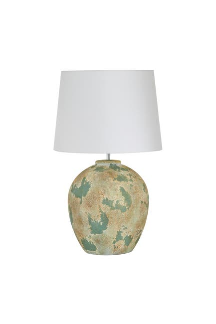 """Image of Willow Row Large Round Beige And Sage Green Textured Ceramic Table Lamp With White Shade - 16.5"""" X 27"""""""