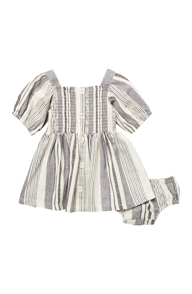 JESSICA SIMPSON Smocked Stripe Print Top & Bloomers, Main, color, STRIPE