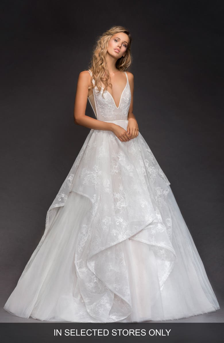 HAYLEY PAIGE Kellan Lace & Tulle Ballgown, Main, color, IVORY/ CASHMERE