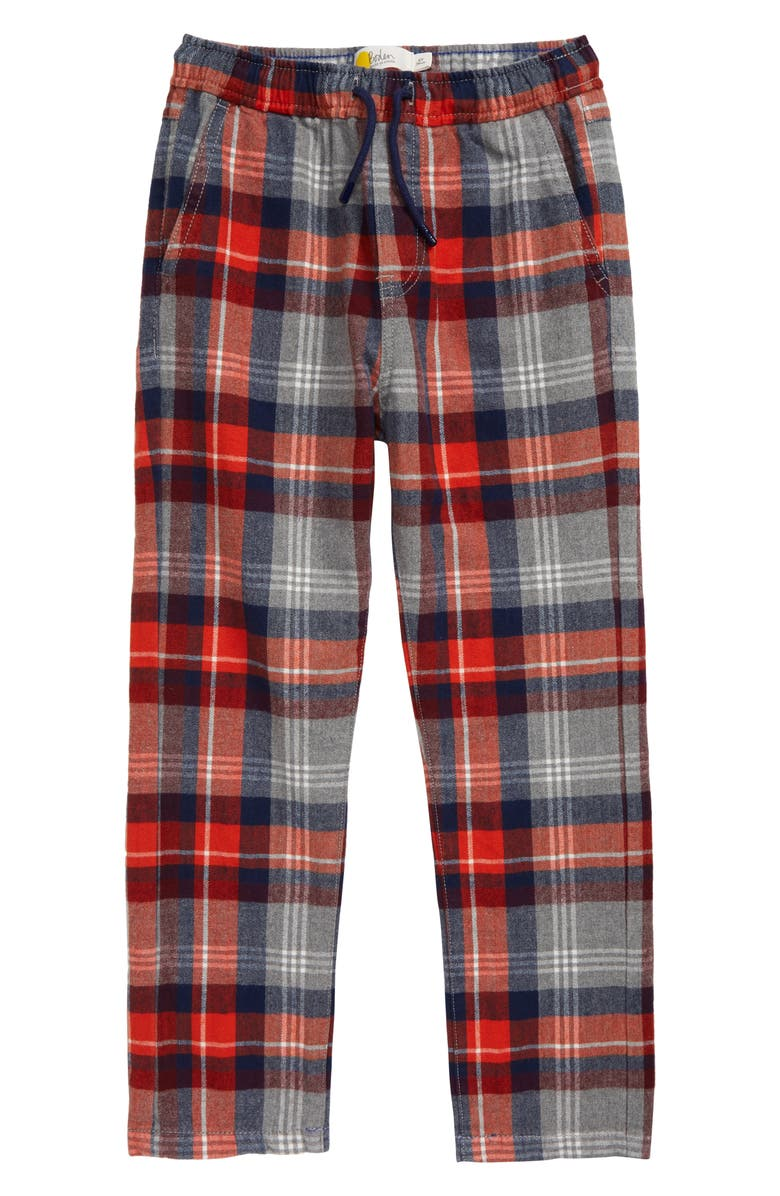 MINI BODEN Relaxed Slim Flannel Pants, Main, color, GREY MARL/ ROCKET RED