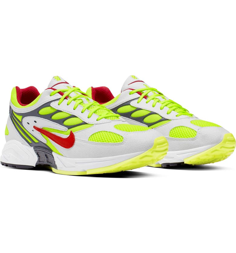 NIKE Air Ghost Racer Sneaker, Main, color, WHITE/ ATOM RED/ YELLOW