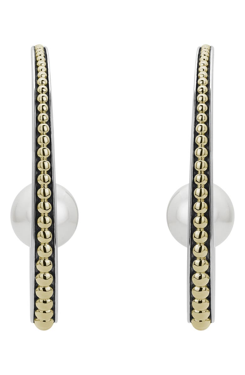 LAGOS Luna Pearl Hoop Earrings, Main, color, 040