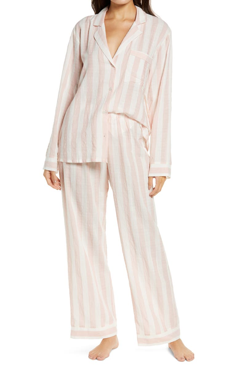 EBERJEY Umbrella Stripe Long Pajamas, Main, color, BALLET PINK/ CLOUD