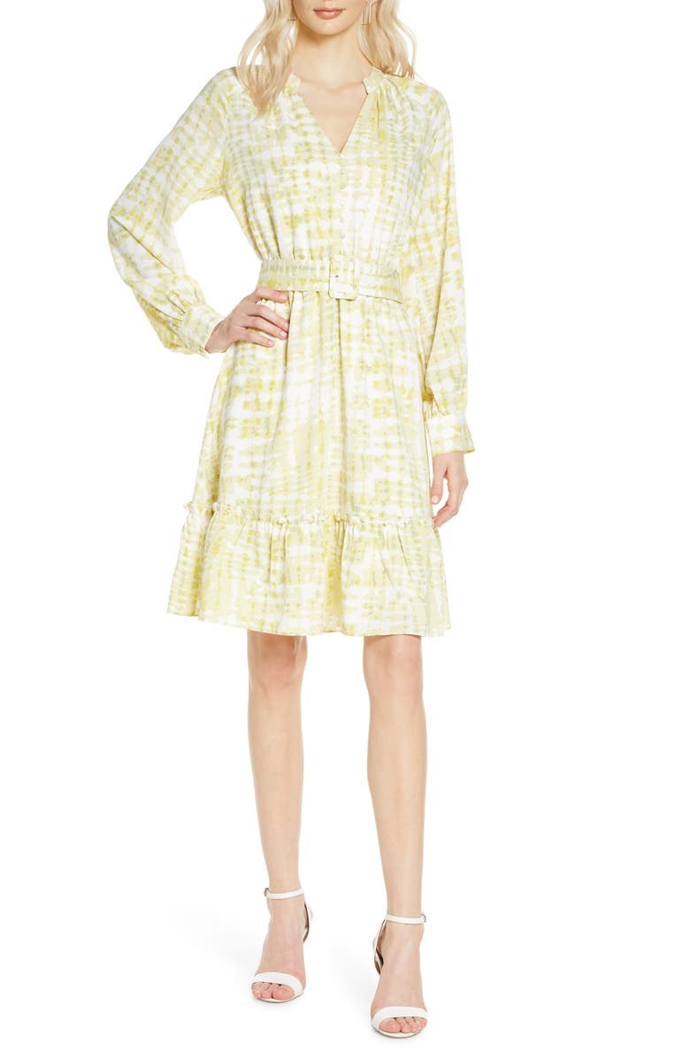 CHELSEA28 Long Sleeve Button Front Dress, Main, color, YELLOW- GREEN ABSTRACT