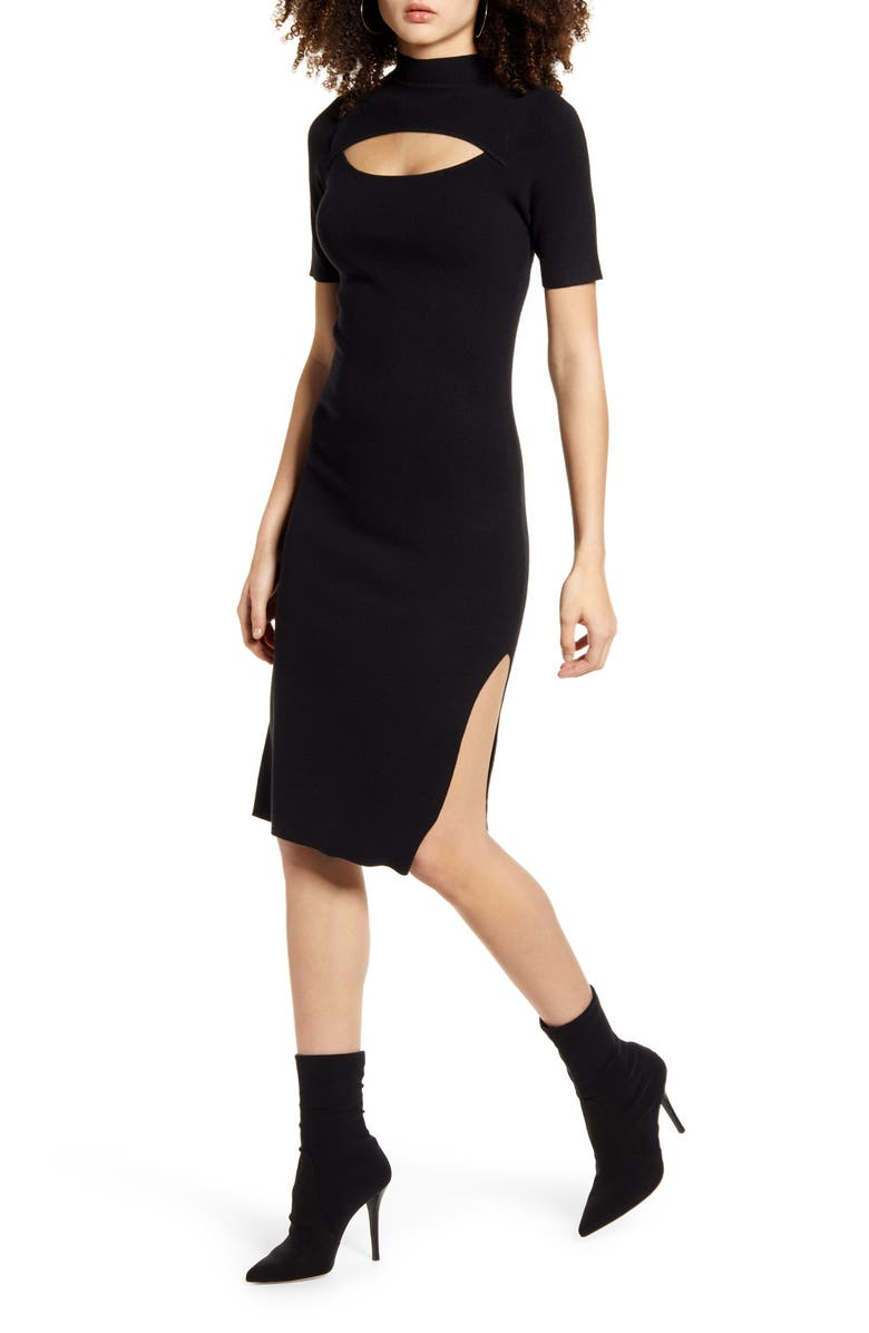 LEITH Cutout Front Mock Neck Sweater Dress, Main, color, BLACK