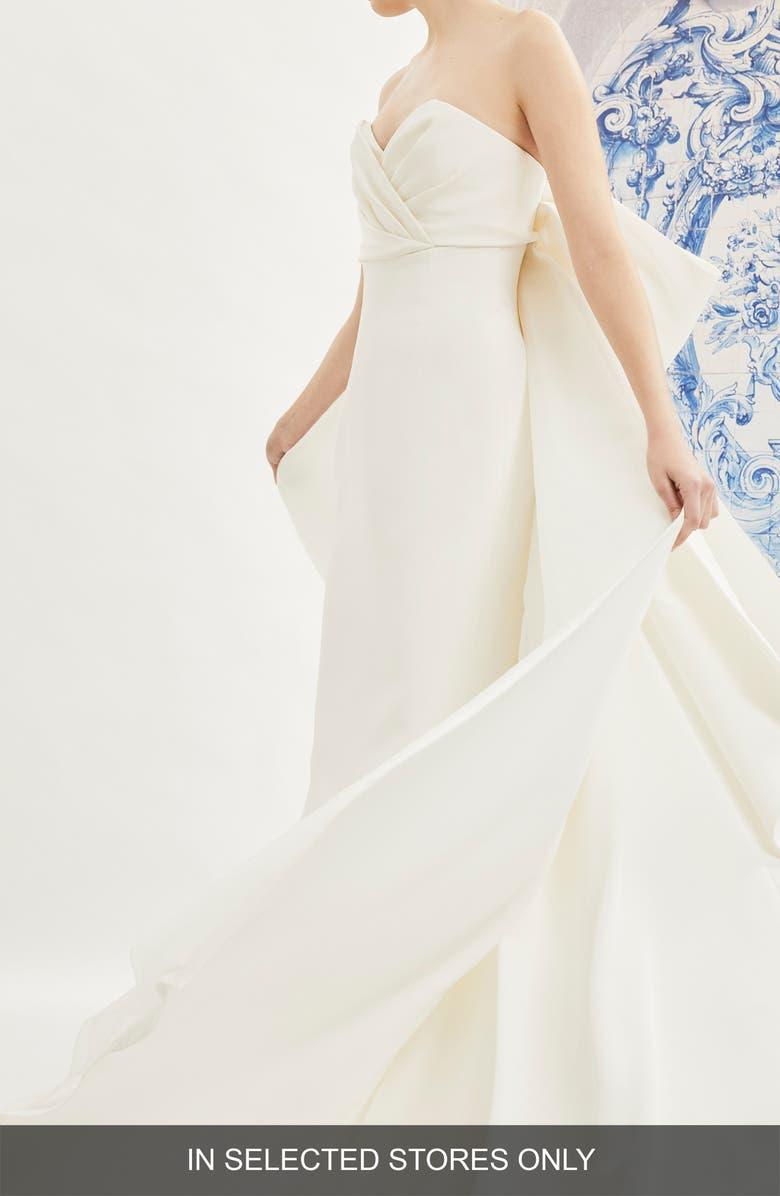 CAROLINA HERRERA Indira Bow Back Detail Strapless Wedding Dress, Main, color, IVORY