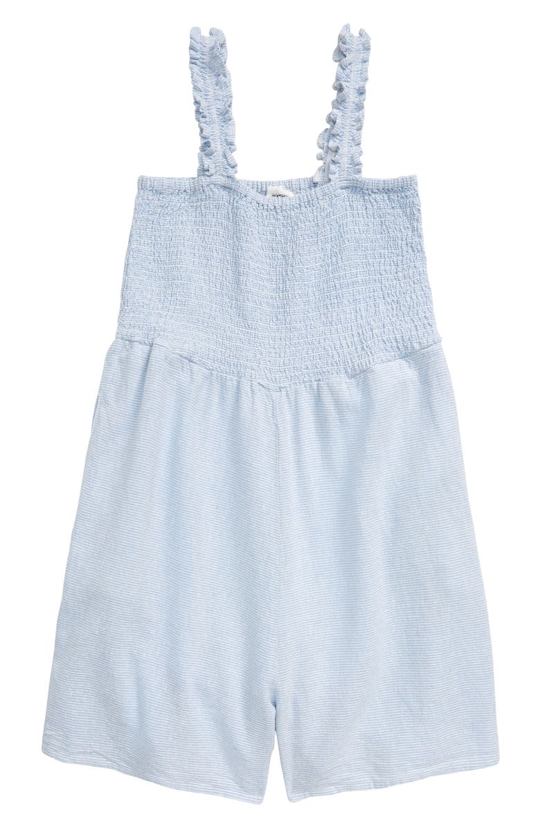 SEED HERITAGE Smocked Bodice Romper, Main, color, PERIWINKLE