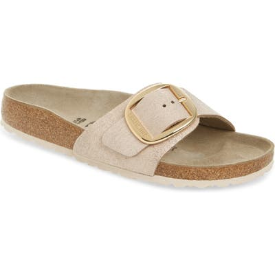 Birkenstock Madrid Big Buckle Slide Sandal, Beige