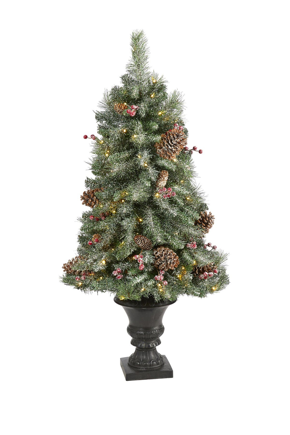 Image of NEARLY NATURAL 4ft. Frosted Pine, Pinecone and Berries Artificial Christmas Tree with 100 Clear LED Lights in Decorative Urn