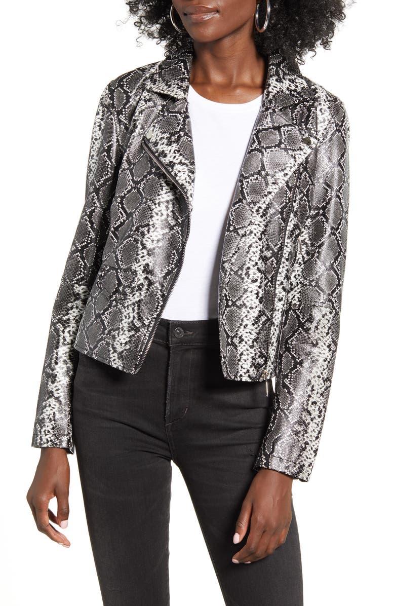 VIGOSS Snake Print Faux Leather Moto Jacket, Main, color, DARK GREY SNAKE
