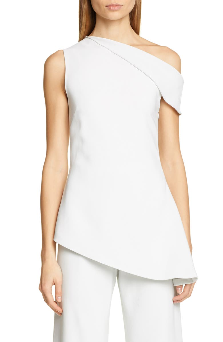 ROSETTA GETTY One-Shoulder Jersey Blouse, Main, color, DOVE