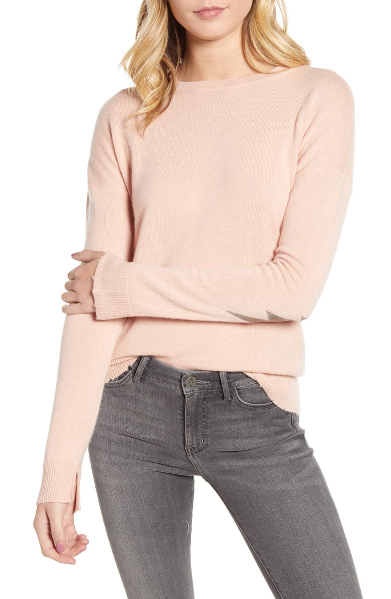 ZADIG & VOLTAIRE Cici Patch Sleeve Cashmere Sweater, Main, color, POUDRE