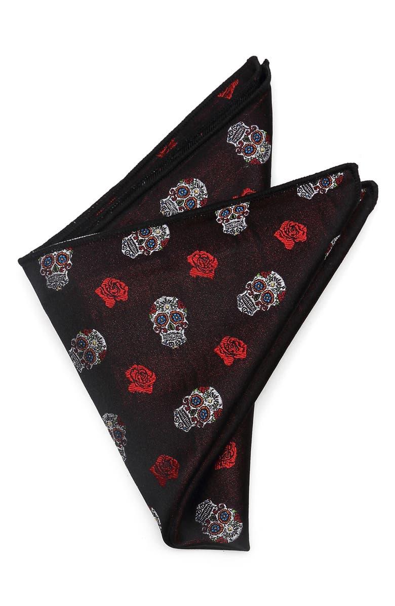 CUFFLINKS, INC. Sugar Skull Silk Pocket Square, Main, color, BLACK