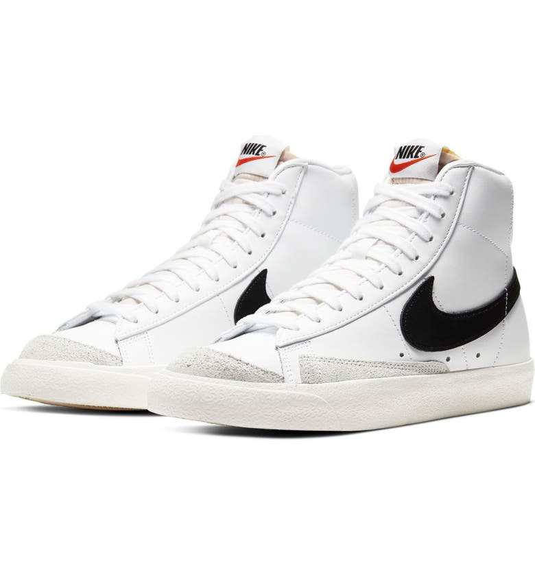 NIKE Blazer Mid '77 High Top Sneaker, Main, color, WHITE/ BLACK/ SAIL