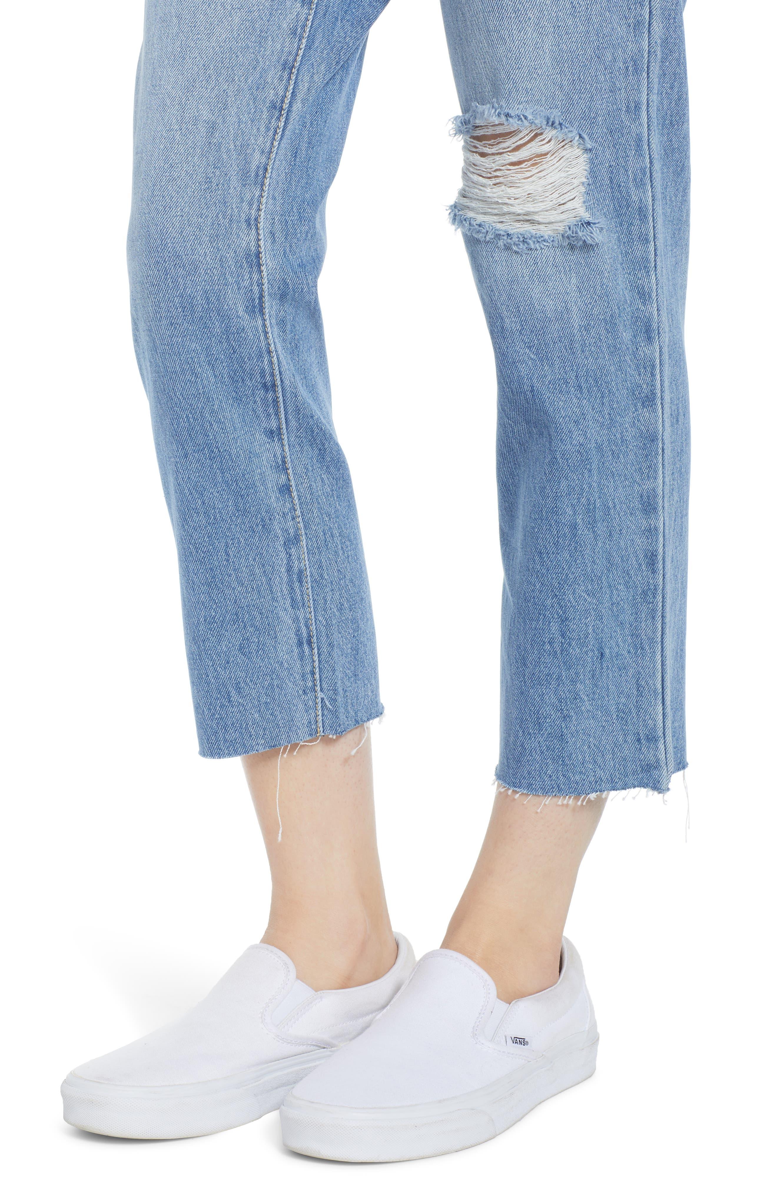 ,                             Cara Ripped Slim Straight Leg Jeans,                             Alternate thumbnail 5, color,                             400