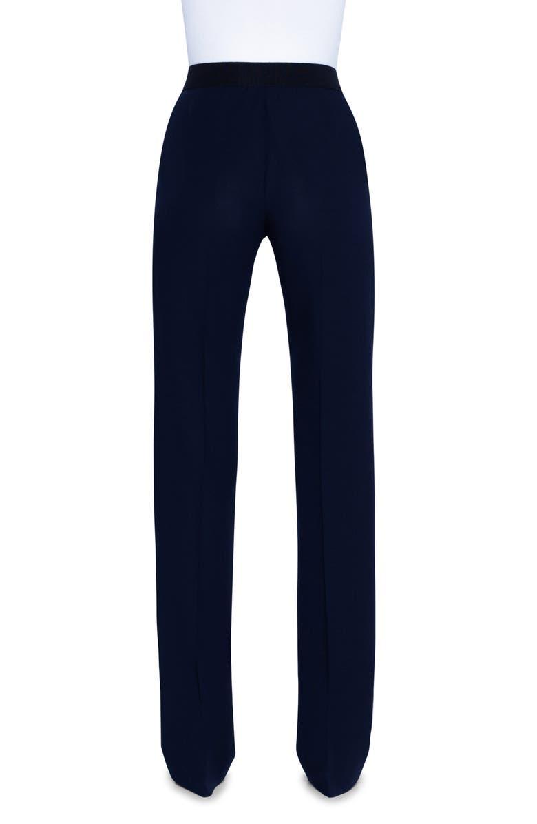 AKRIS Carl Wool Blend Straight Leg Pants, Main, color, BLACK
