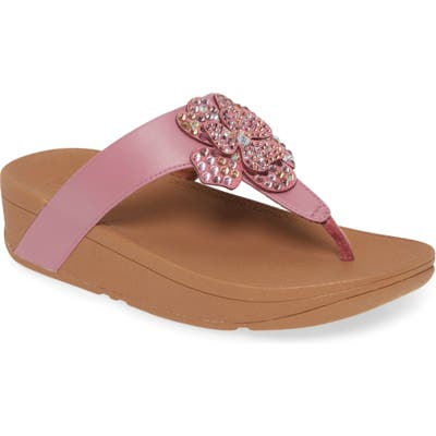 Fitflop Lottie Crystal Flower Wedge Flip Flop, Pink