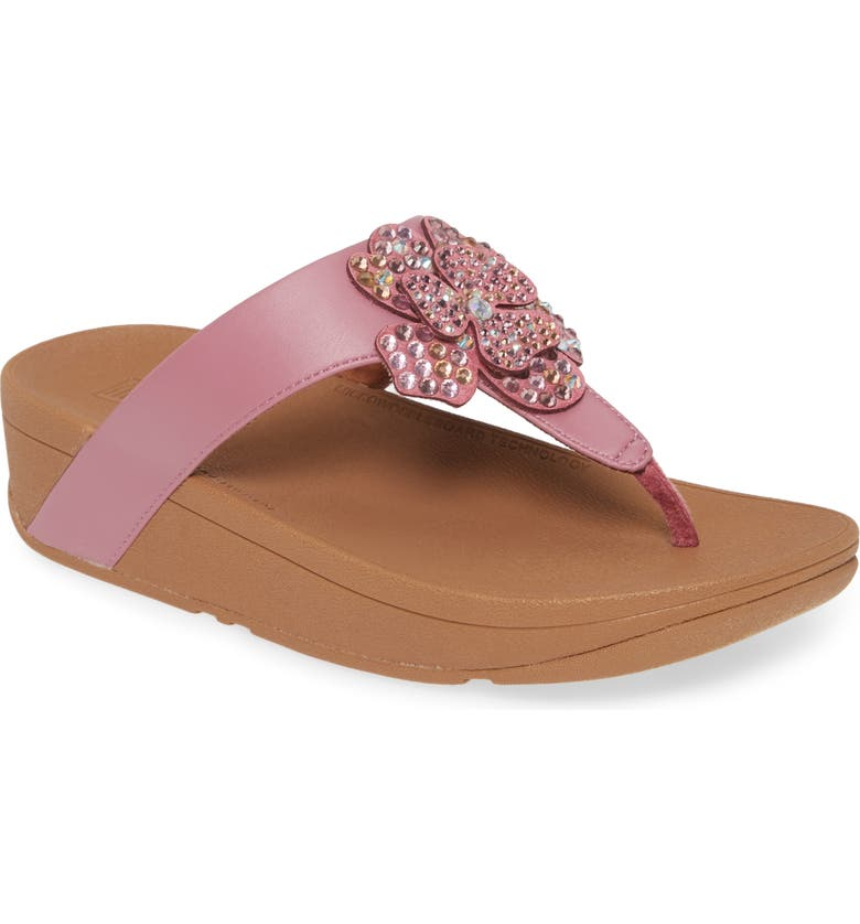 FITFLOP Lottie Crystal Flower Wedge Flip Flop, Main, color, HEATHER PINK FAUX LEATHER