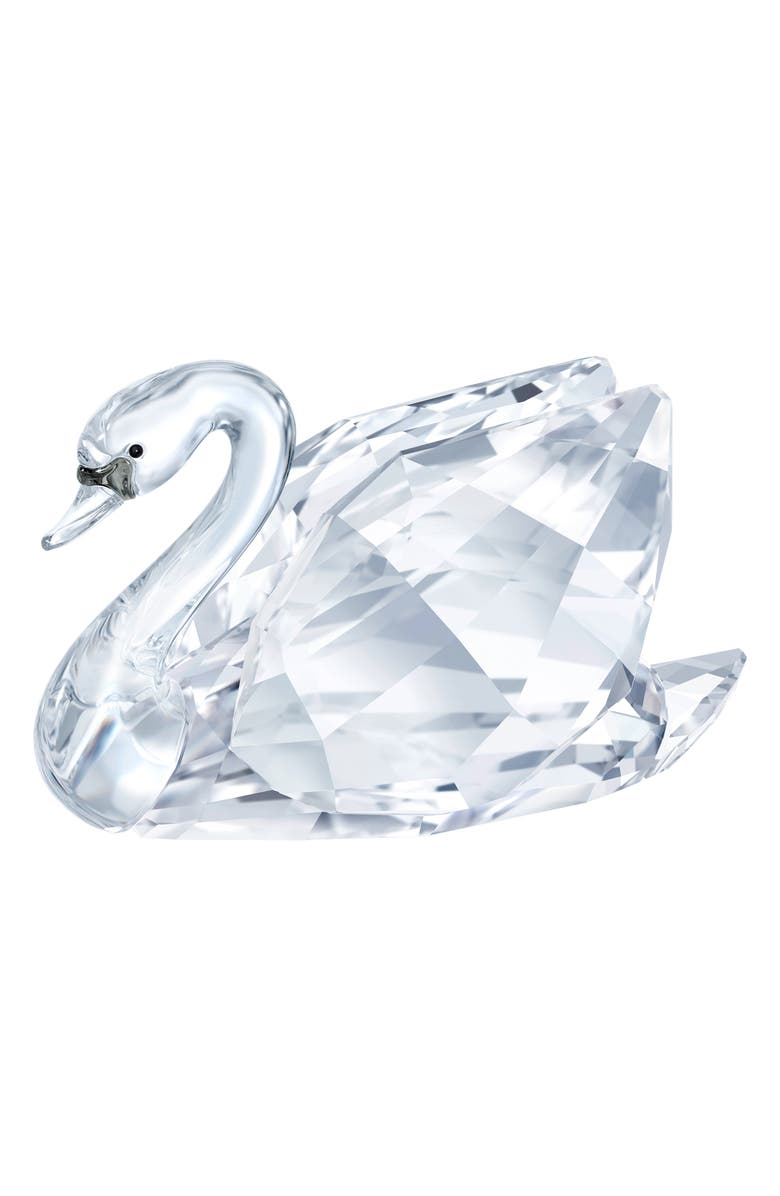 SWAROVSKI Small Crystal Swan Figurine, Main, color, CLEAR