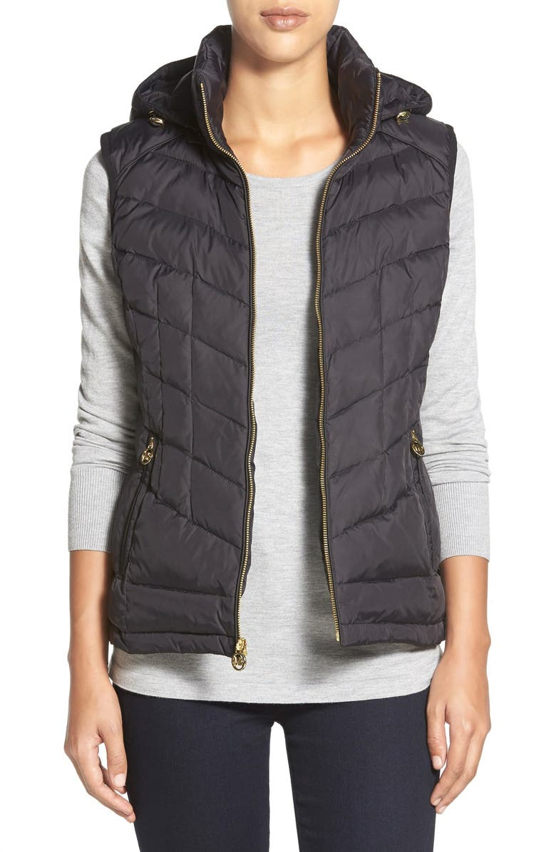 MICHAEL MICHAEL KORS Quilted Down & Feather Fill Vest with Detachable Hood, Main, color, 001