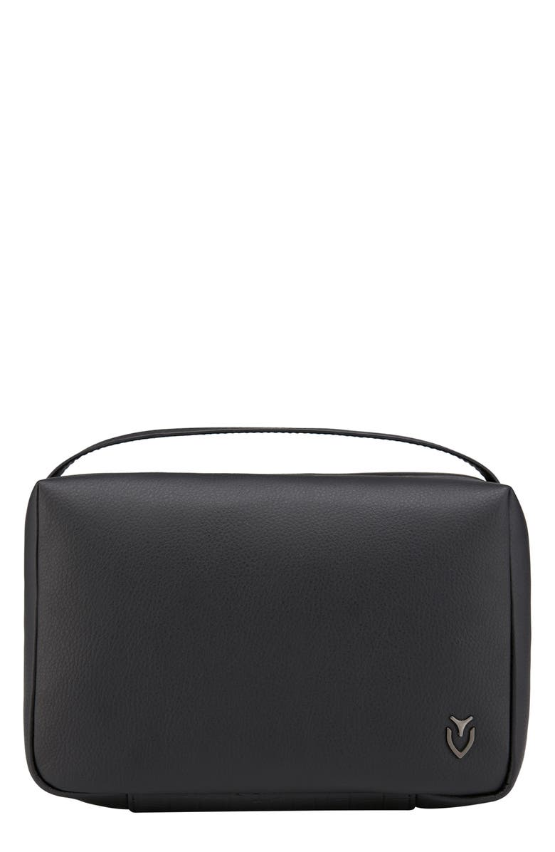 VESSEL Signature 2.0 Faux Leather Toiletry Case, Main, color, PEBBLED/ CROC BLACK