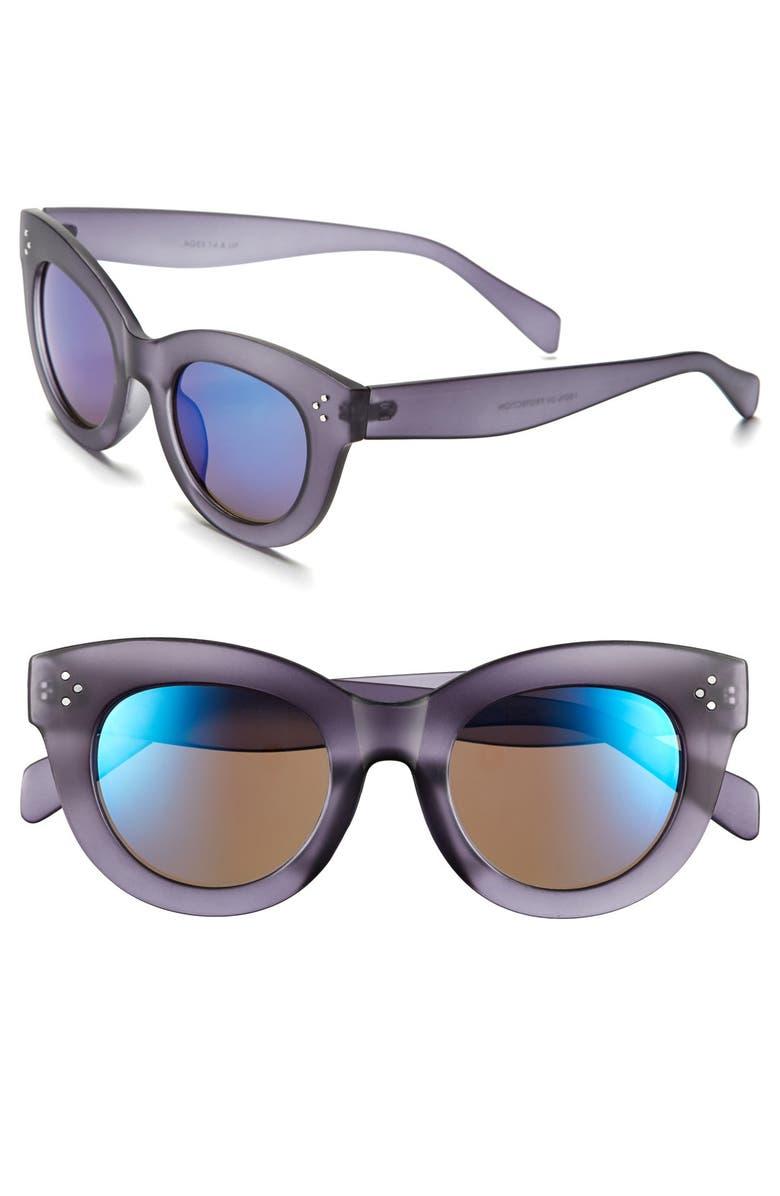 FANTASEYES FE NY 49mm Mirror Lens Sunglasses, Main, color, 020