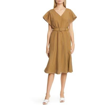 Lafayette 148 New York Kline Belted Silk & Linen Midi Dress, Brown