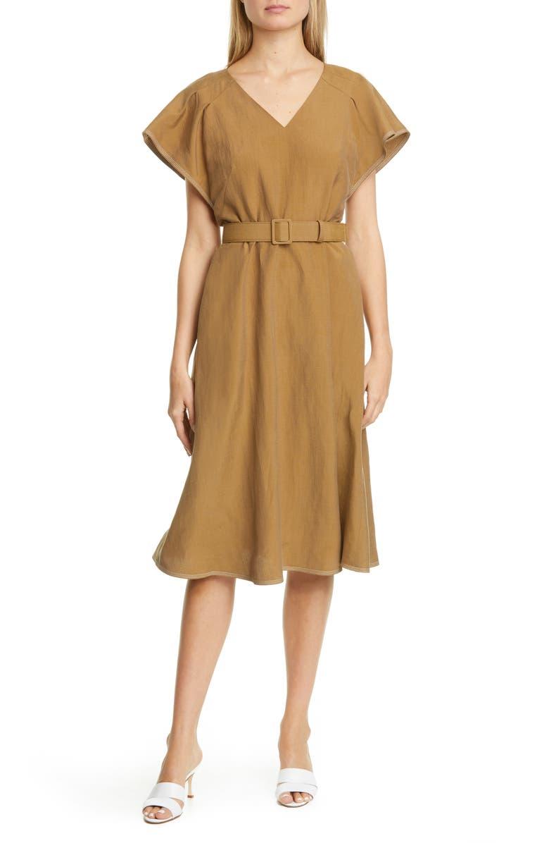 LAFAYETTE 148 NEW YORK Kline Belted Silk & Linen Midi Dress, Main, color, SHIITAKE