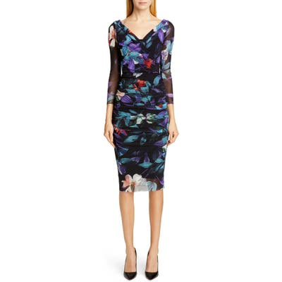 Fuzzi Floral Ruched Body-Con Dress, Black
