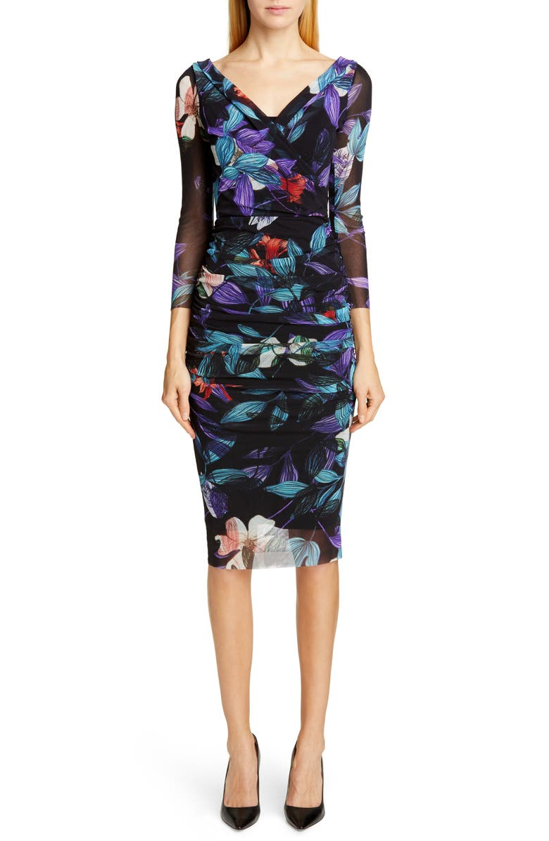 FUZZI Floral Ruched Body-Con Dress, Main, color, 001