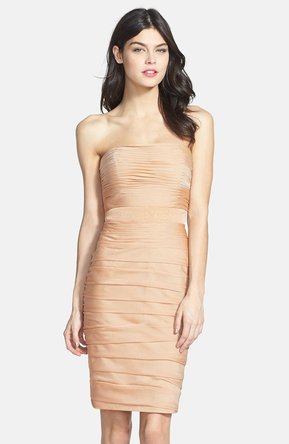 ,                             Ruched Strapless Cationic Chiffon Dress,                             Main thumbnail 23, color,                             289