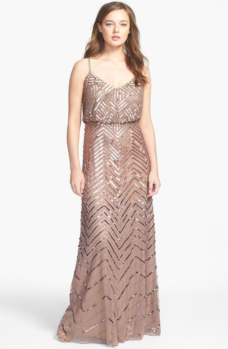 ADRIANNA PAPELL Cross Back Sequin Blouson Gown, Main, color, 220