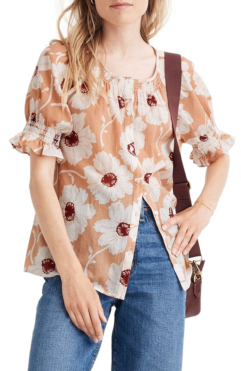 MADEWELL Smocked Button-Down Top in Big Time Blooms, Main, color, 950