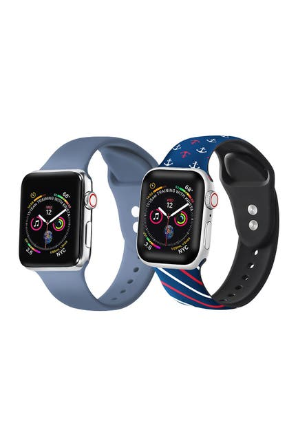 Image of POSH TECH Atlantic Blue/Nautical Apple Watch Replacement Band - Set of 2 - 42mm/44mm