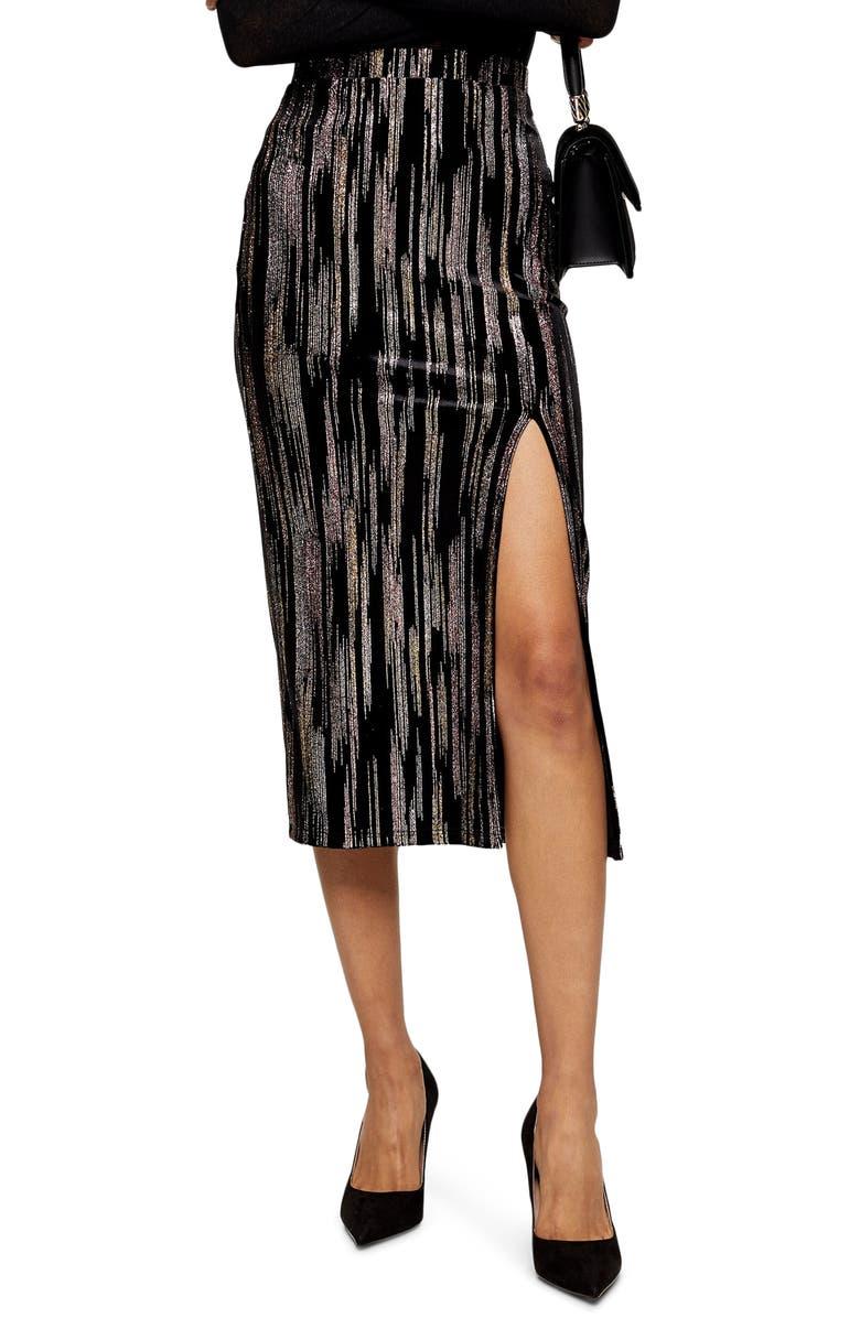 TOPSHOP Velvet Glitter Midi Skirt, Main, color, BLACK