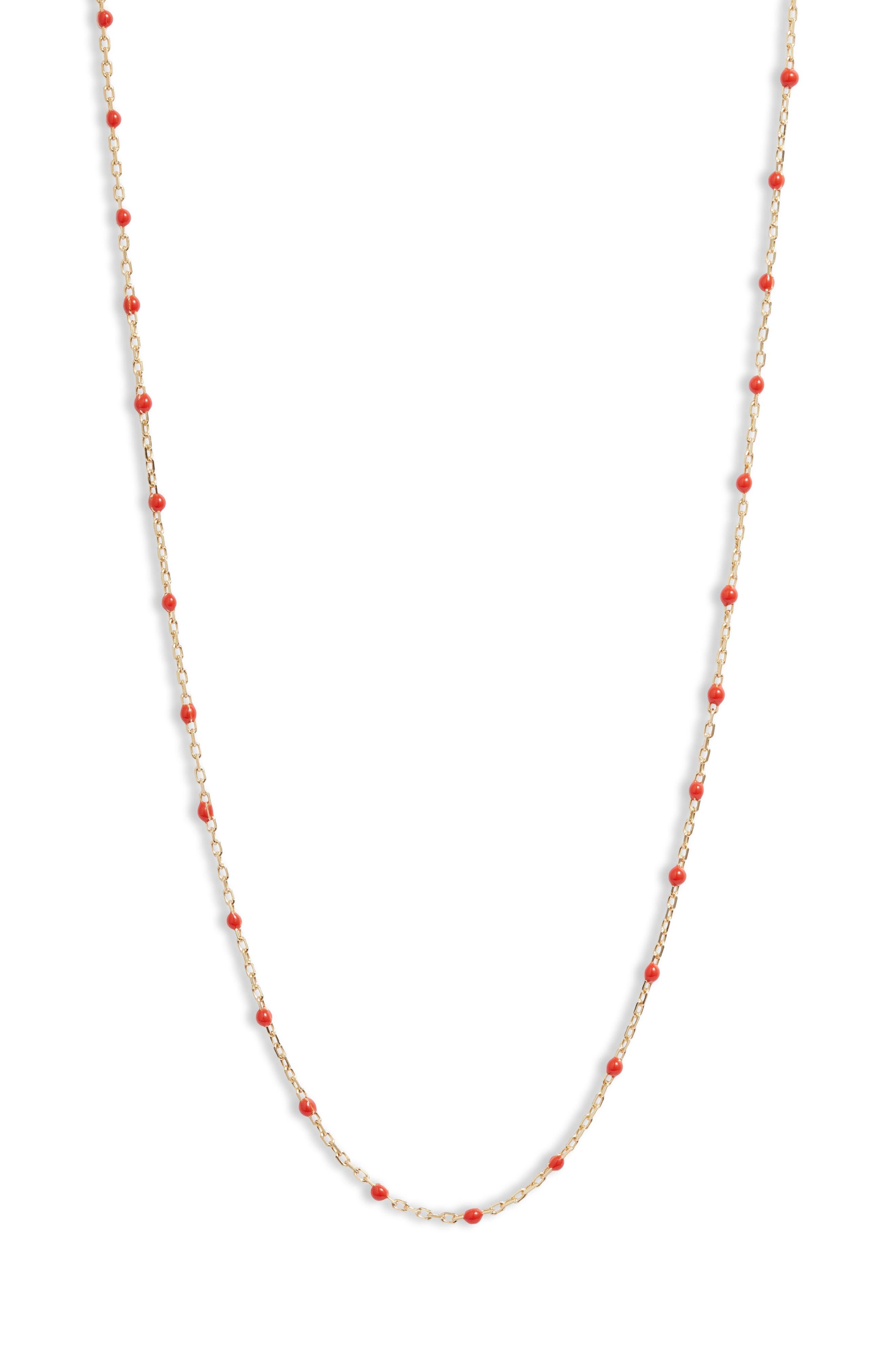 Black Enamel Bead Station Necklace