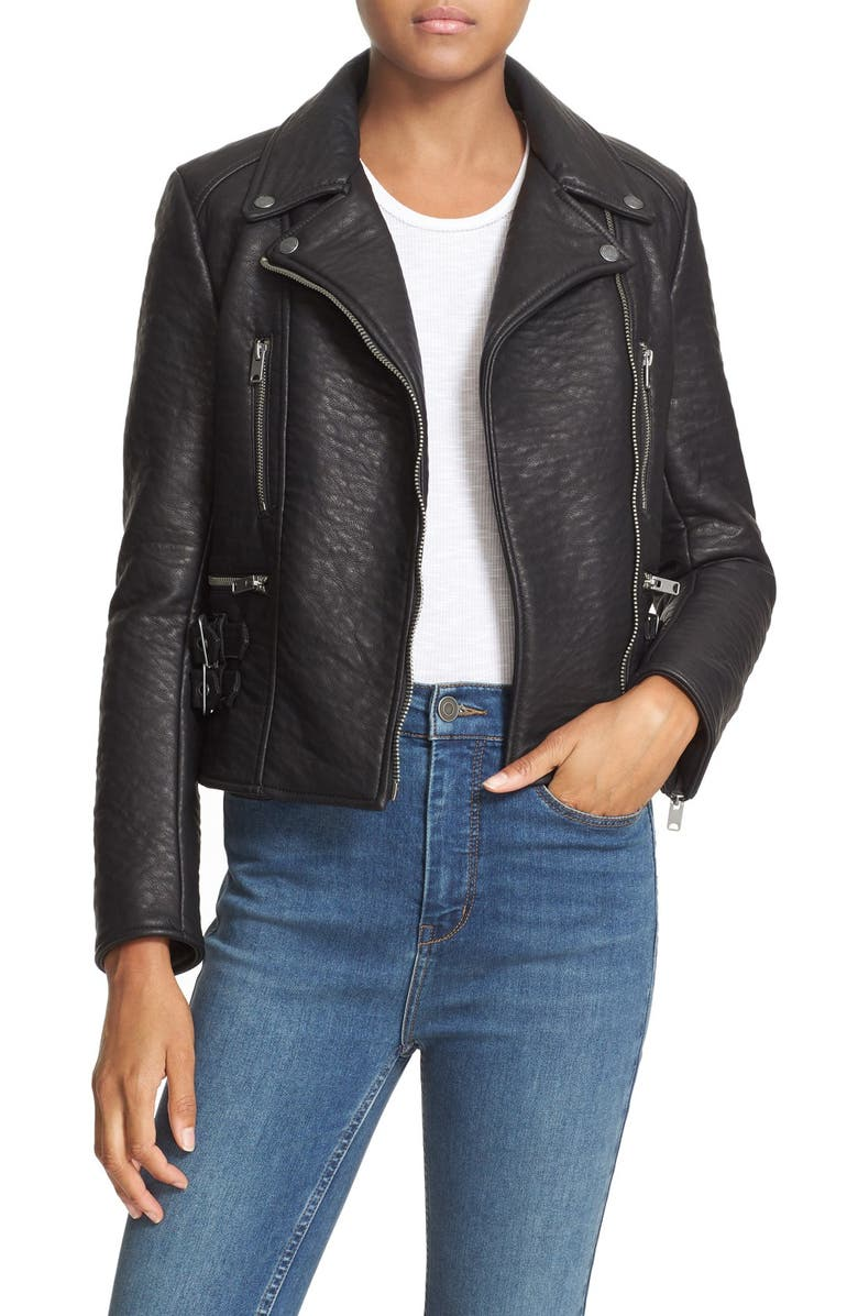 FREE PEOPLE 'Soho' Faux Leather Moto Jacket, Main, color, 001