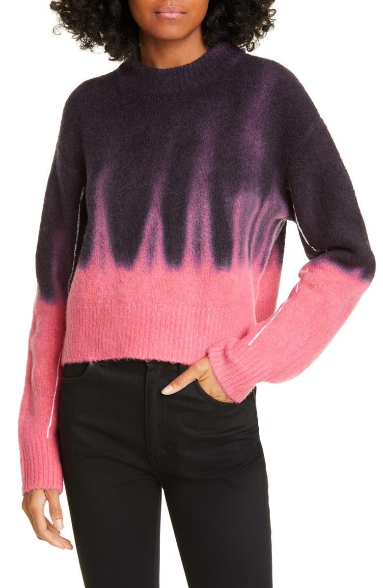 PROENZA SCHOULER WHITE LABEL Proenza Schouler PSWL Dip Dye Sweater, Main, color, BLACK/ HIBISCUS