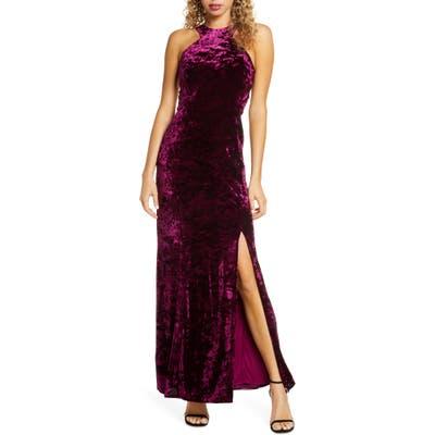 Morgan & Co. Cleo Strappy Back Velvet Gown, /2 - Burgundy