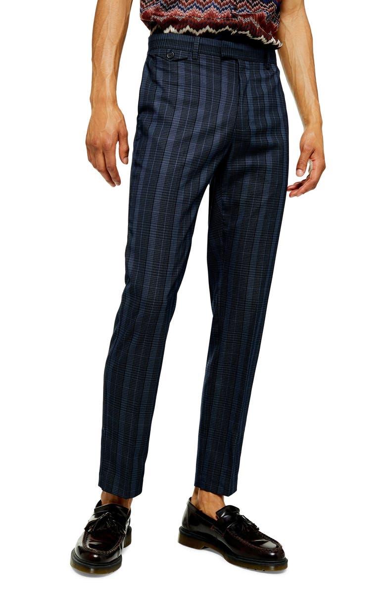 TOPMAN Sherb Plaid Cropped Pants, Main, color, BLUE