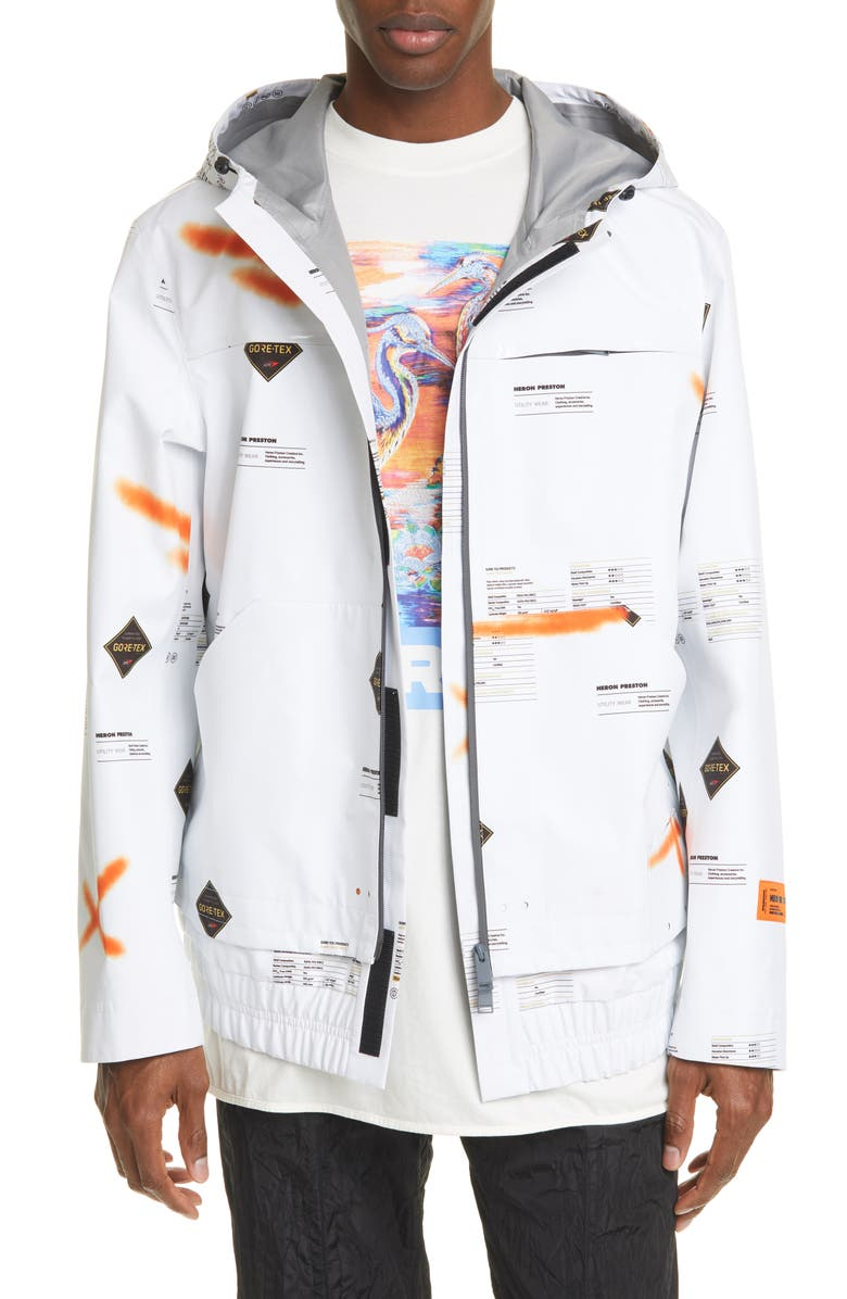 HERON PRESTON Gore-Tex<sup>®</sup> Print Windbreaker Jacket, Main, color, WHITE